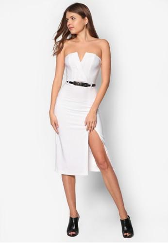 裹飾露肩腰帶zalora時尚購物網的koumi koumi洋裝, 服飾, 洋裝