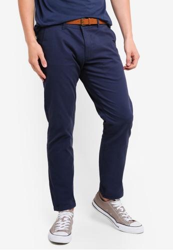 ESPRIT 藍色 腰帶修身長褲 6F917AA1D6840BGS_1