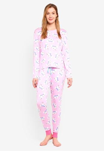 Chelsea Peers pink Pink Magic Unicorn All Over Print Long PJ Set C27F7AAC42CB26GS_1