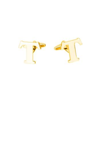 Glamorousky 銀色 簡約個性鍍金色英文字母T袖扣 CEEC3AC7A52A38GS_1