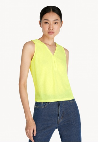 Pomelo yellow V Neck Tank Top - Yellow 91CABAAF61D931GS_1