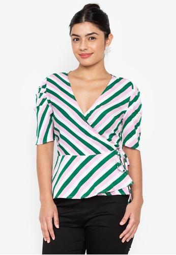 Wear Kris multi Kiara Overlap Stripe Woven Top with Gathered Sleeves 4A426AA4AEC679GS_1