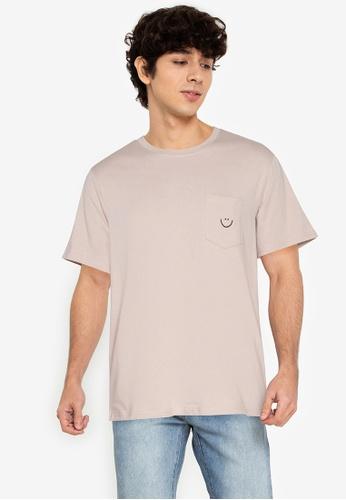 ZALORA BASICS beige Smiley T-Shirt A8C22AA80CF78CGS_1