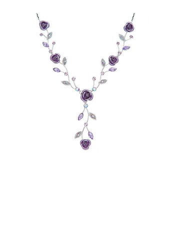 Glamorousky silver Violet Rose Necklace with Violet Austrian Crystals and Crystal Glass 83051AC5A37702GS_1