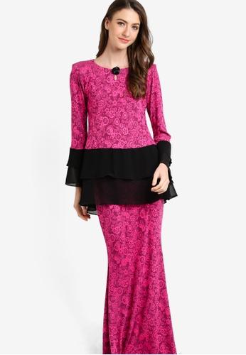 Zuco Fashion pink Chiffon Peplum Midi Kurung ZU882AA09HCKMY_1