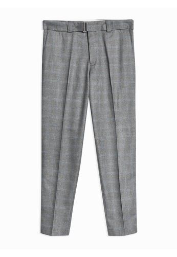 2585e8ec39c Shop Topman Grey Check Slim Crop Trousers Online on ZALORA Philippines