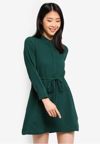 ZALORA BASICS green Basic Long Sleeves Drawstring Dress 16A63AAB97C341GS_1