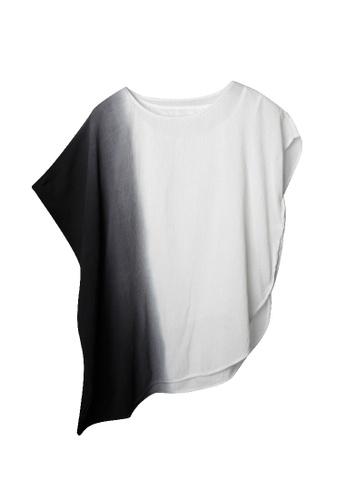 Giordano Ladies black Geometric Shape Dip-Dye Wrinkle Top 69779AA0FC430AGS_1