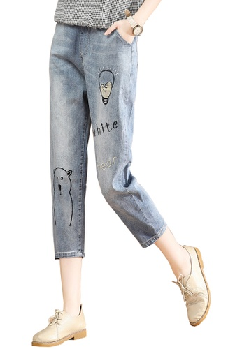 A-IN GIRLS blue Jeans With Elastic Waist 57F0EAAC4C7777GS_1