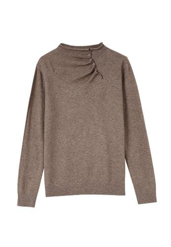 A-IN GIRLS 褐色 簡約純色半高領針織衫 CD095AAE6049E6GS_1