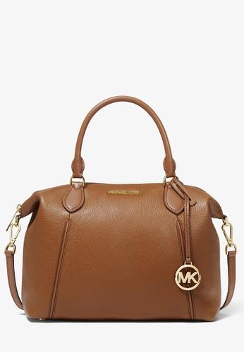 Michael Kors brown Michael Kors Lenox Large Pebbled Leather Shoulder Bag - Luggage 69415AC3409460GS_1