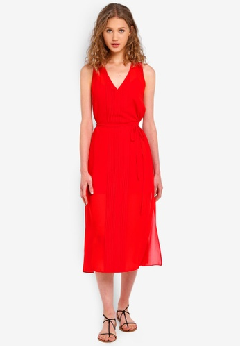 Jack Wills red Palmsley Long Pleated Dress 593C8AAF8187FAGS_1