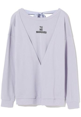 tout à coup purple Cutout ribbon tie sweater A0AE6AA161D0E8GS_1