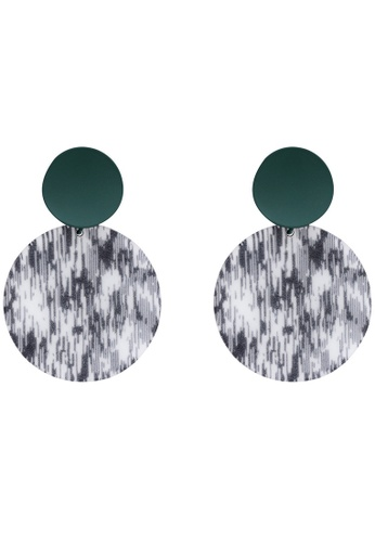 A-Excellence gold Grey Round and Green Circle Earrings D606DACF68387EGS_1