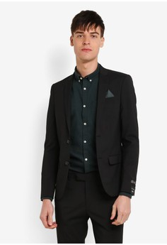 【ZALORA】 NEW ?100 APOLLO 修身 黑色 西裝外套