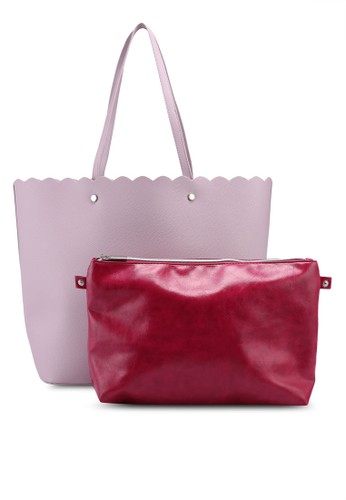 OVS pink Textured Shopping Bag With Studs A72E4ACA750EF8GS_1