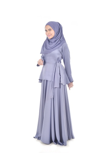 Assie Modesty grey and blue and silver Maxi Skirt With Blouse 2B24DAAFF88C88GS_1