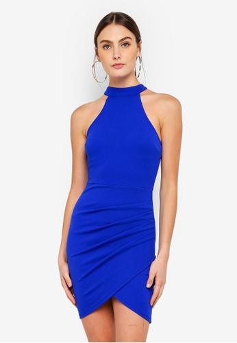 AX Paris blue Choker Neck Bodycon Dress E5293AADAB463FGS_1