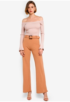 3c3b7f9e32 MISSGUIDED Bardot Knitted Flute Sleeve Bodysuit RM 129.00. Sizes 6 8 10 12  14