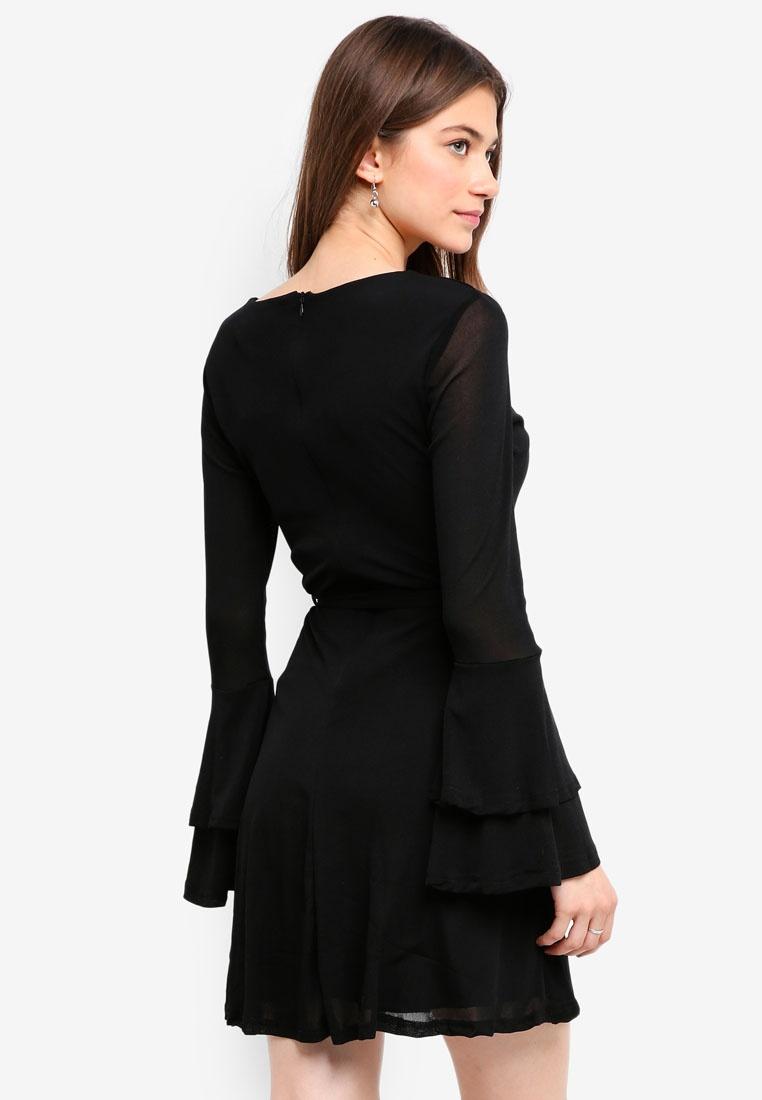 London Mela Black Sleeve Double Dress Trumpet xqpITwa7