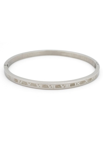 Elitrend silver Stainless Steel Roman Numeral Bangle in Silver EL890AC64DPZSG_1