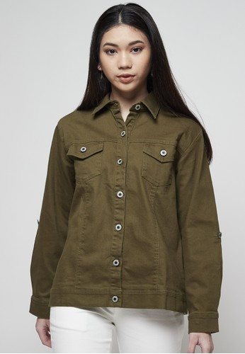 IHANG green IHANG Soft Denim Jacket Green Army EFBBDAA1E65891GS_1