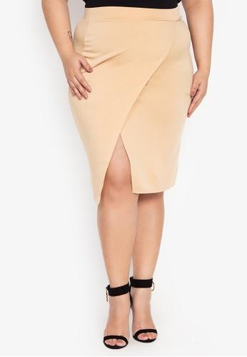 9321b9a3249 Ashley Collection Plus beige Plus Size Overlap Midi Skirt D4531AAB139CB4GS 1