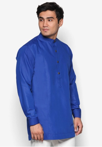 Amar Amran blue and navy Kurta  Al Hakim AM362AA77UNYMY_1