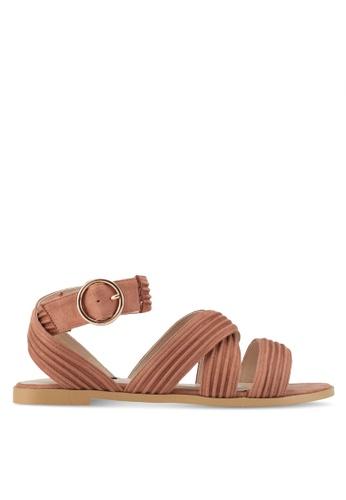 ZALORA brown Microfiber Sandals 0740ESHBEBBECAGS_1