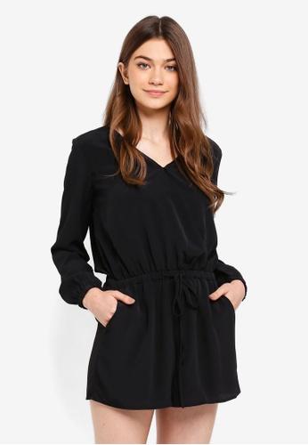 Something Borrowed black Long Sleeves Wrap Romper 3814EAA8F9AEF0GS_1