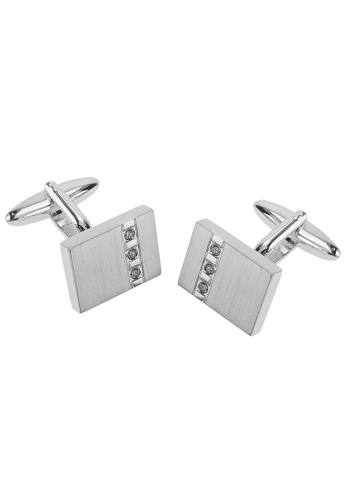 CUFF IT white Crystal Inlaid Rectangular Cufflinks CU047AC74EIBHK_1