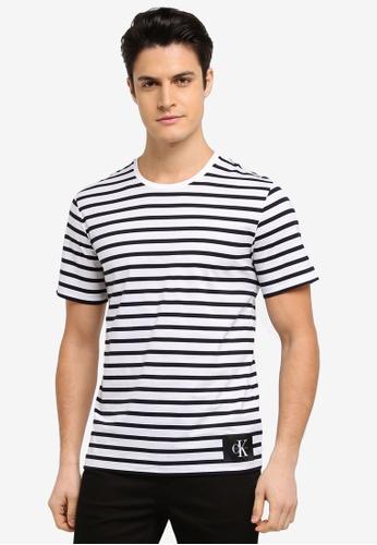 Calvin Klein multi Testripe Crew Neck T-Shirt - Calvin Klein Jeans 18C44AA5C0F3F4GS_1