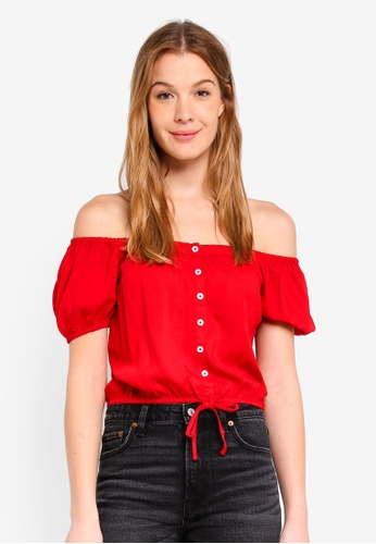 Hollister red Chase Off Shoulder Top 39750AA67A0127GS_1