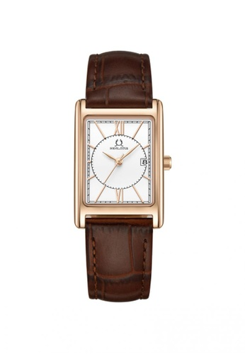 Solvil et Titus brown Classicist Women's 3 Hands Date Quartz Watch in Silver White Dial and Brown Leather Strap 3EF16ACDF7A60DGS_1