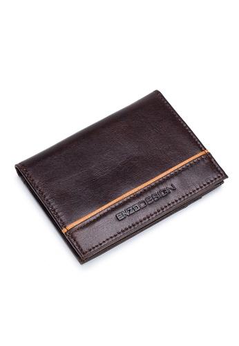 ENZODESIGN brown ENZODESIGN ENZODESIGN Leather Slim Bifold Card Holder (With Hidden Side Pockets)S18M-CFSG 0A5A0ACF554150GS_1