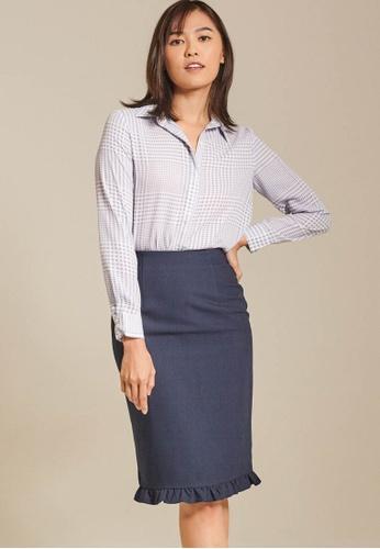 Dressing Paula navy Ruffled Cotton-Blend Pencil Skirt 0BF57AACB81F75GS_1