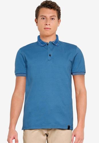 UniqTee blue Stripes Collar and Cuff Polo Shirt F40ACAA6522D8DGS_1