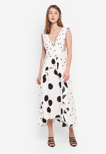TOPSHOP white Mix Spotted Midi Dress 1C99EAA13B593AGS_1
