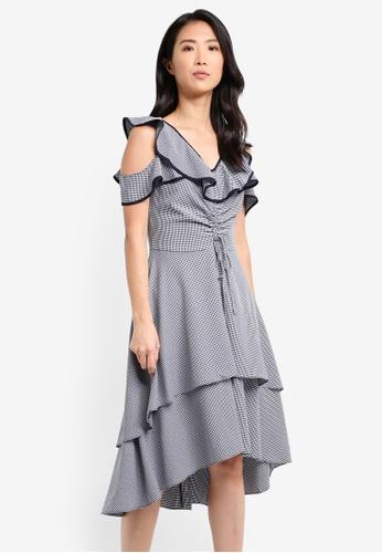 ZALORA navy Flutter Shoulder Layered Dress A0D4CAAFA36EB0GS_1