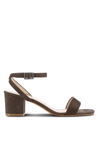 ZALORA 綠色 Faux Suede Ankle Strap Sandals 239DDSH693FE1BGS_1