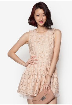 Fit-and-Flare Dress With Ruffled Sleeves