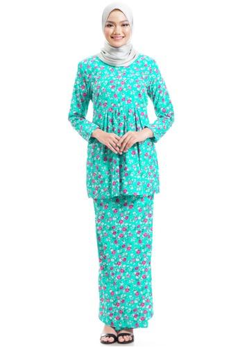 Ashura green and multi Bilqist Kurung Cotton With Gathered Peplum A3052AAB5346B9GS_1