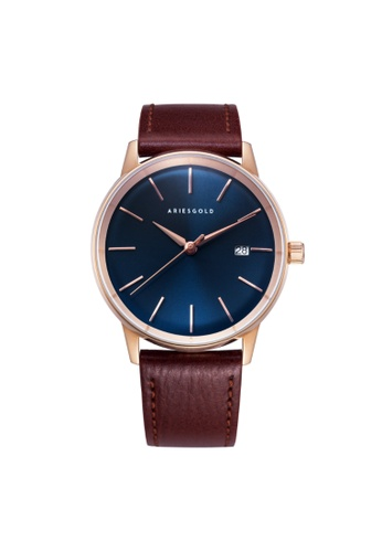 Aries Gold brown Aries Gold La Oro G 9026 RG-BU Rose Gold and Brown Leather Watch 82A2BAC72247C3GS_1