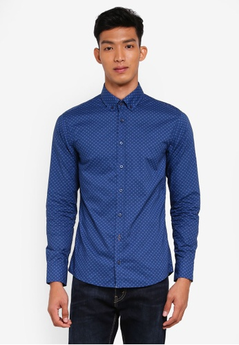 BOSS 藍色 長袖印花襯衫 E078EAA605159BGS_1
