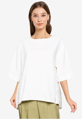 GLOBAL WORK white Hi-Lo T-Shirt 84385AA984FF85GS_1