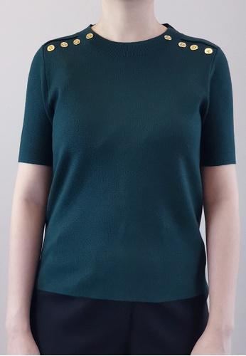 SUB green Women Gold Button Knit Top 33CDAAAD5AABDCGS_1