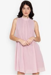 CIGNAL pink Chiffon High Neck A-line Dress FB438AA6125A5BGS_1