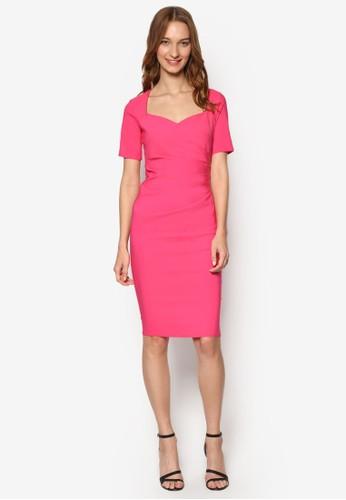 桃心領起褶短袖連身zalora時尚購物網的koumi koumi裙, 服飾, 服飾