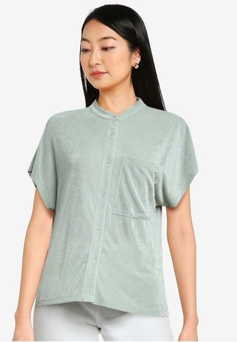ZALORA BASICS green Stand Collar Shirt 46ACDAA5792939GS_1