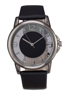 Round Face Translucent Dial Watch